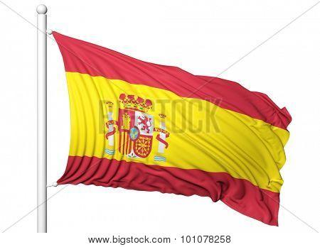 Waving flag of Spain on flagpole, isolated on white background.