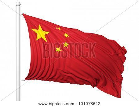 Waving flag of China on flagpole, isolated on white background.