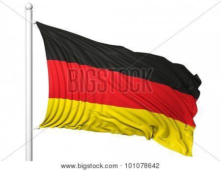 Waving flag of Germany on flagpole, isolated on white background.
