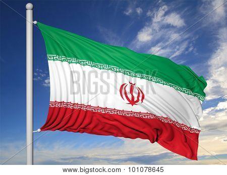 Waving flag Iran of on flagpole, on blue sky background.