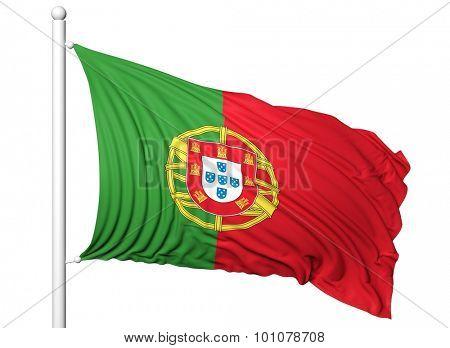 Waving flag of Portugal on flagpole, isolated on white background.