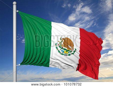 Waving flag of Mexico on flagpole, on blue sky background.