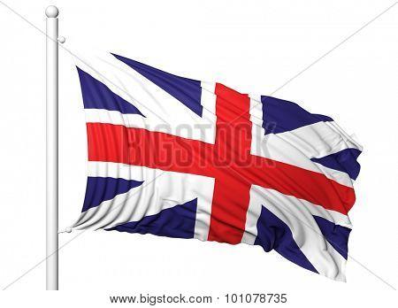 Waving flag of UK on flagpole, isolated on white background.