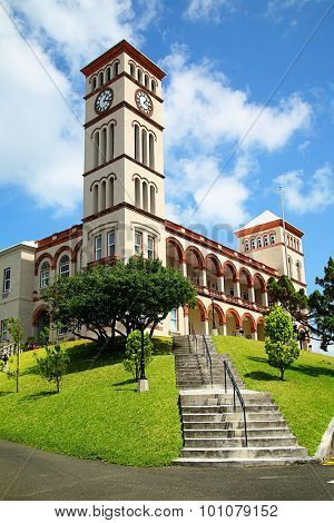 View of the Sessions House in Hamilton, Bermuda.