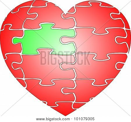 Jigsaw puzzle red heart