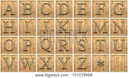 Wooden capital letters alphabet, isolated on white