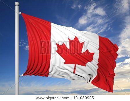 Waving flag of Canada on flagpole, on blue sky background.
