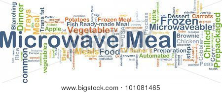 Background concept wordcloud illustration of microwave meal