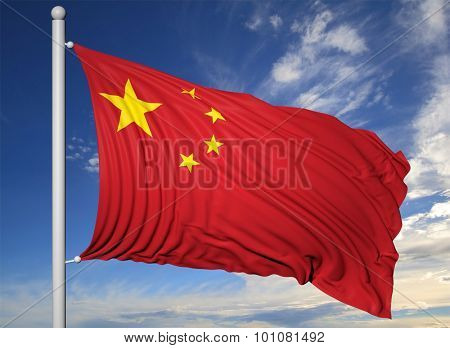 Waving flag of China on flagpole, on blue sky background.