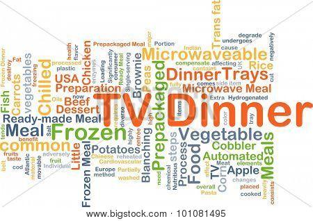 Background concept wordcloud illustration of TV dinner