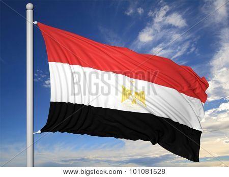 Waving flag of Egypt on flagpole, on blue sky background.