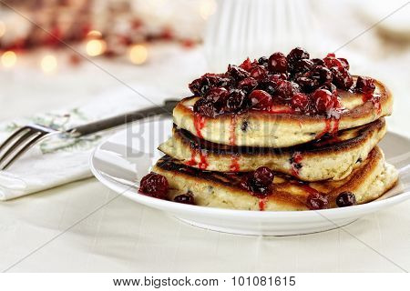Cranberry Sauce Over Pancakes