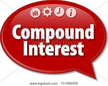 Speech bubble dialog illustration of business term saying Compound Interest