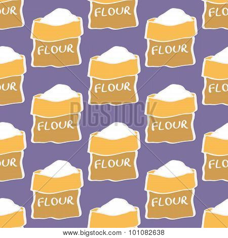 Flour. Seamless pattern with sack of flour. Hand-drawn background. Vector illustration.