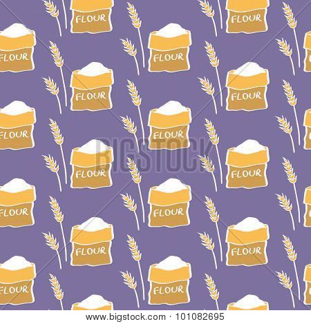 Flour. Seamless pattern with sack of flour and wheat. Hand-drawn background. Vector illustration.