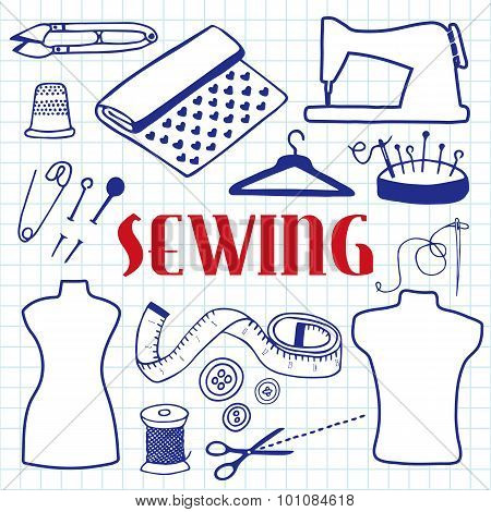 Sewing set. Hand-drawn cartoon tools. Doodle drawing.