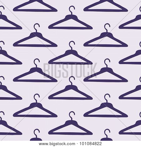 Coat hanger. Seamless pattern with hand-drawn cartoon sewing tools. Vector illustration.
