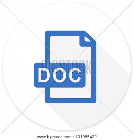 doc file flat design modern icon with long shadow for web and mobile app