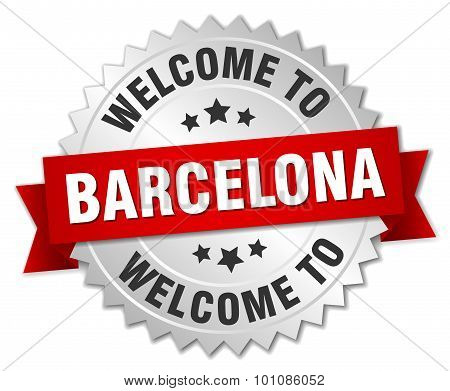 Barcelona 3D Silver Badge With Red Ribbon
