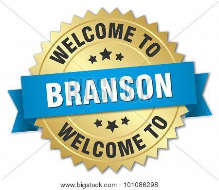 Branson 3D Gold Badge With Blue Ribbon