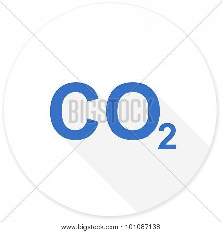 carbon dioxide flat design modern icon with long shadow for web and mobile app