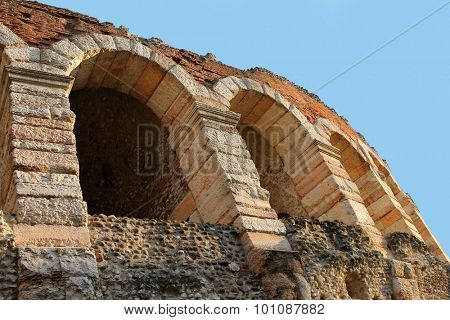 VERONA, ITALY - SEPTEMBER 2014 : Arena di Verona in Piazza Bra in Verona, Italy on September 13, 2014. Verona Arena is a Roman amphitheatre that was built in 1st century and still very well-preserved