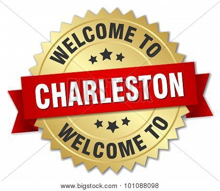 Charleston 3D Gold Badge With Red Ribbon