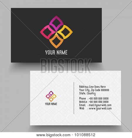 Creative horizontal business card or visiting card for your company and organization.