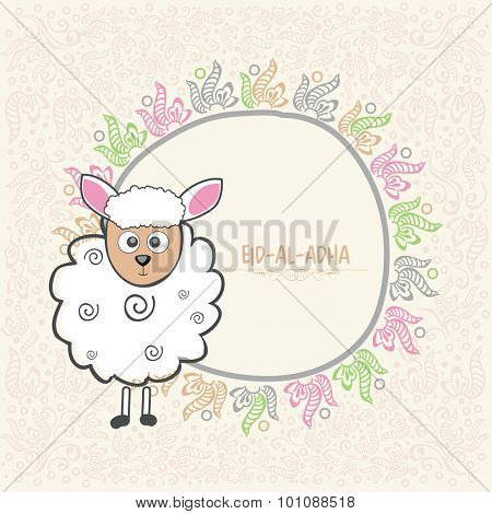 Illustration of a goat with floral design decorated frame for Muslim Community Festival of Sacrifice, Eid-Al-Adha celebration.