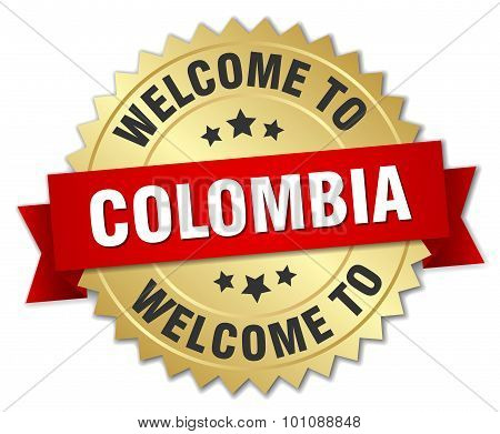 Colombia 3D Gold Badge With Red Ribbon