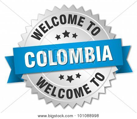 Colombia 3D Silver Badge With Blue Ribbon