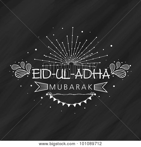 Beautiful greeting card design for muslim community festival of sacrifice, Eid-Ul-Adha celebration on blackboard background.