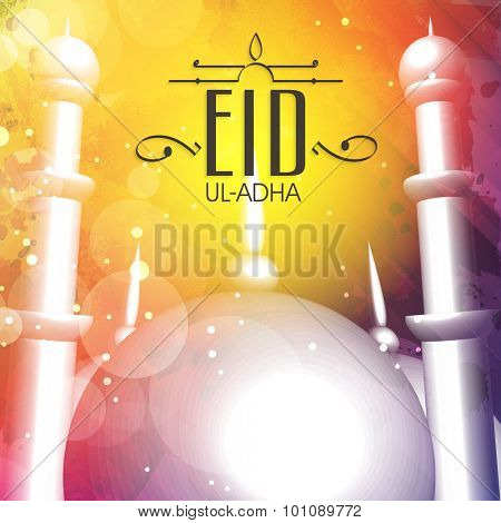 Glossy mosque on colorful background for Islamic Festival of Sacrifice, Eid-Ul-Adha celebration.