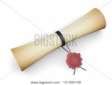 Scroll Paper With A Seal On A White Background