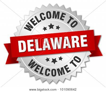 Delaware 3D Silver Badge With Red Ribbon