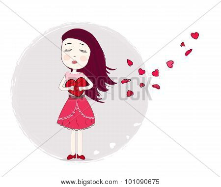 Holding heart sadness girl vector art background