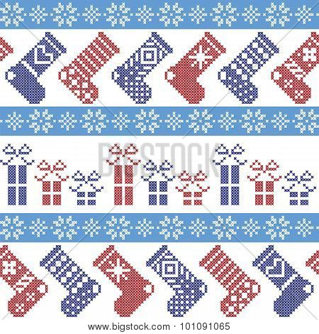 Dark blue, light blue and red Nordic Christmas pattern with stockings, stars, snowflakes, presents,