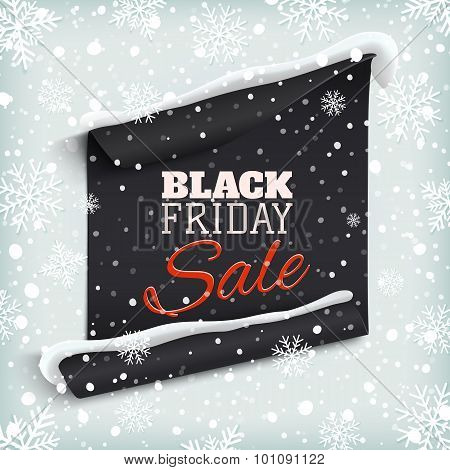 Black Friday sale. Curved paper banner.