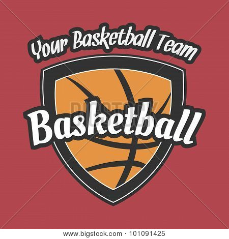 Basketball Team Label with Ball
