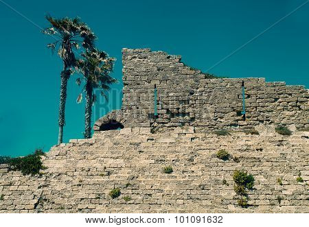 Ancient Wall Remaining In Caesarea, Israel