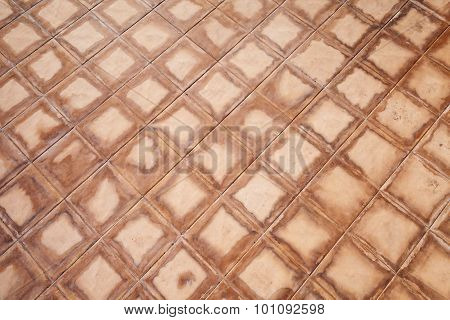 Wet Red Square Floor Tiling, Background Texture
