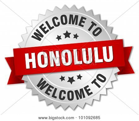 Honolulu 3D Silver Badge With Red Ribbon