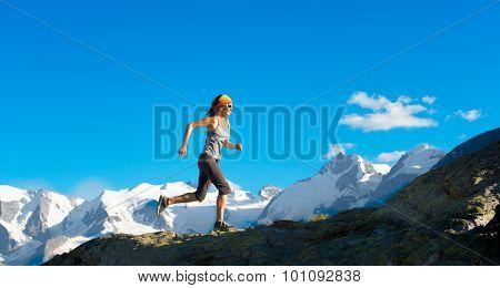 Girl Runs In The High Mountains