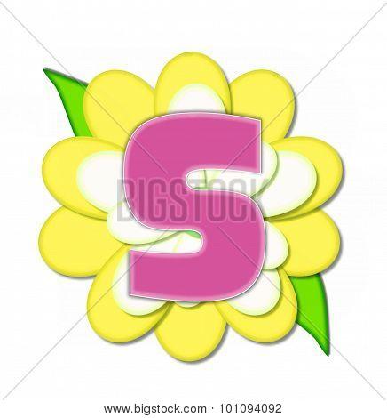 Alphabet Flower Pin Yellow S