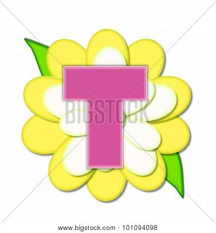 Alphabet Flower Pin Yellow T