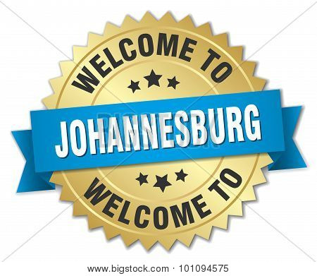 Johannesburg 3D Gold Badge With Blue Ribbon