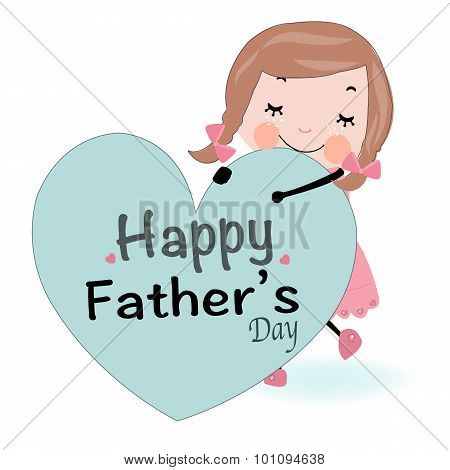 Father's day card cute girl holding heart vector