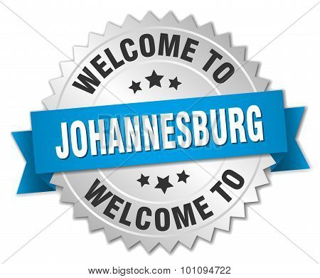 Johannesburg 3D Silver Badge With Blue Ribbon