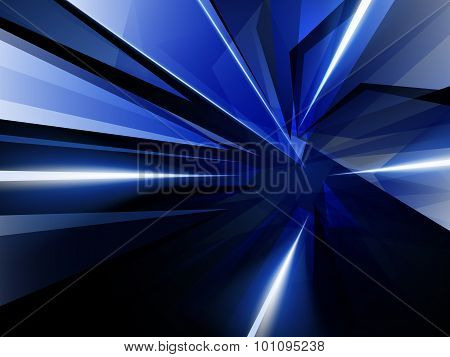 Dark Abstract Background Of Blue Luminous Rays