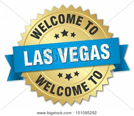 Las Vegas 3D Gold Badge With Blue Ribbon